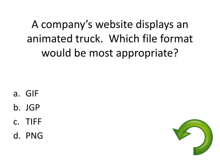 A company's website displays an animated truck.  Which file format would be most appropriate?