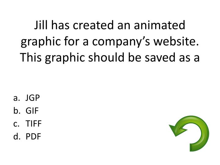 Jill has created an animated graphic for a company's website.  This graphic should be saved as a