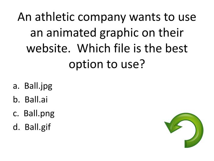 An athletic company wants to use an animated graphic on their website.  Which file is the best option to use?