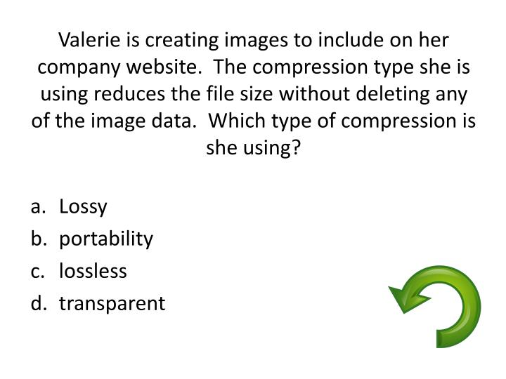 Valerie is creating images to include on her company website.  The compression type she is using reduces the file size without deleting any of the image data.  Which type of compression is she using?