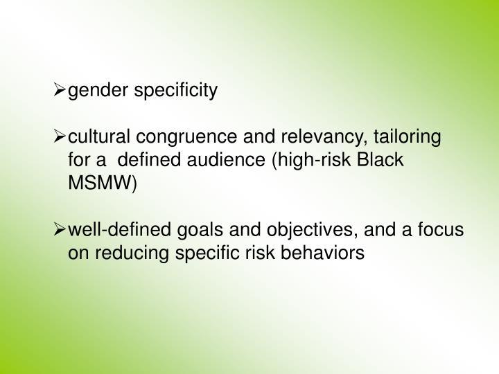 gender specificity