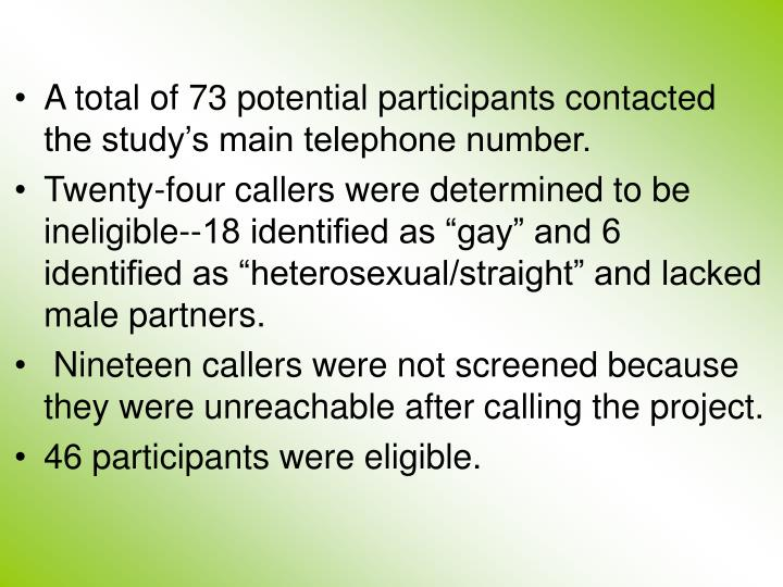A total of 73 potential participants contacted the study's main telephone number.