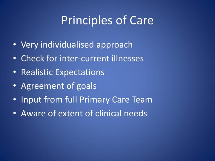 Principles of Care