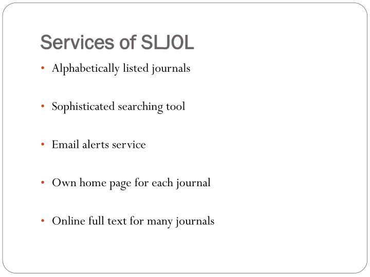 Services of SLJOL
