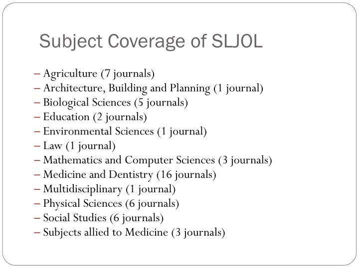 Subject Coverage of SLJOL