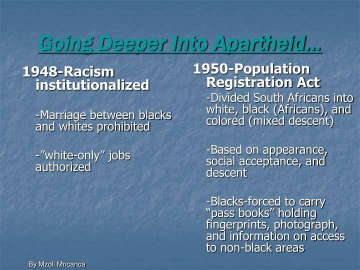 Going Deeper Into Apartheid…