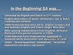 in the beginning sa was