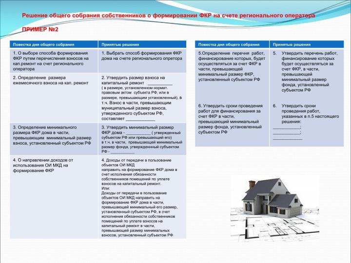 Решение общего собрания собственников о формировании ФКР на счете регионального оператора