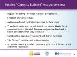 building capacity building into agreements