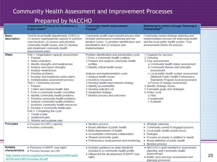 Community Health Assessment and Improvement Processes