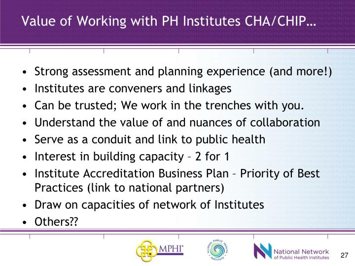 Value of Working with PH Institutes CHA/CHIP…