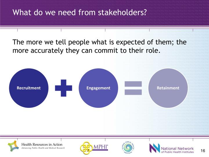 What do we need from stakeholders?