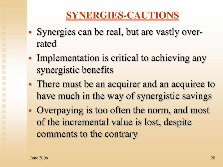 SYNERGIES-CAUTIONS