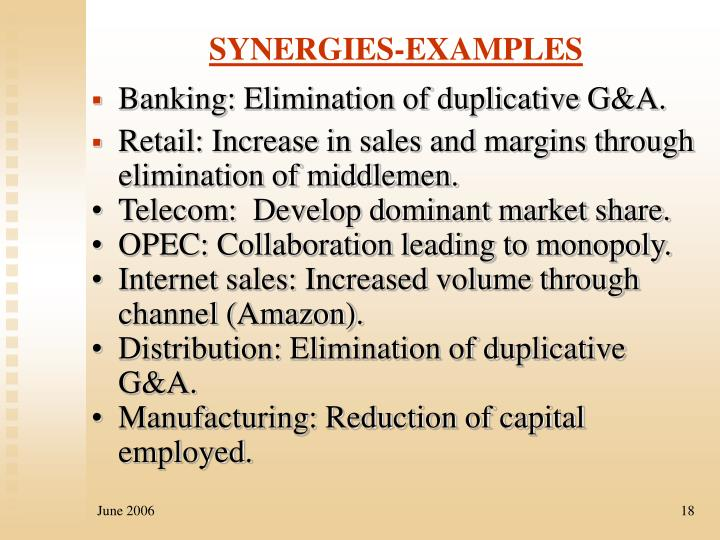 SYNERGIES-EXAMPLES
