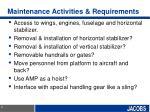 maintenance activities requirements