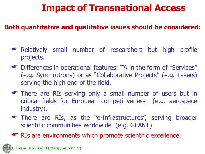 Impact of Transnational Access