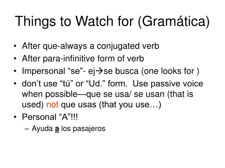 Things to Watch for (Gramática)