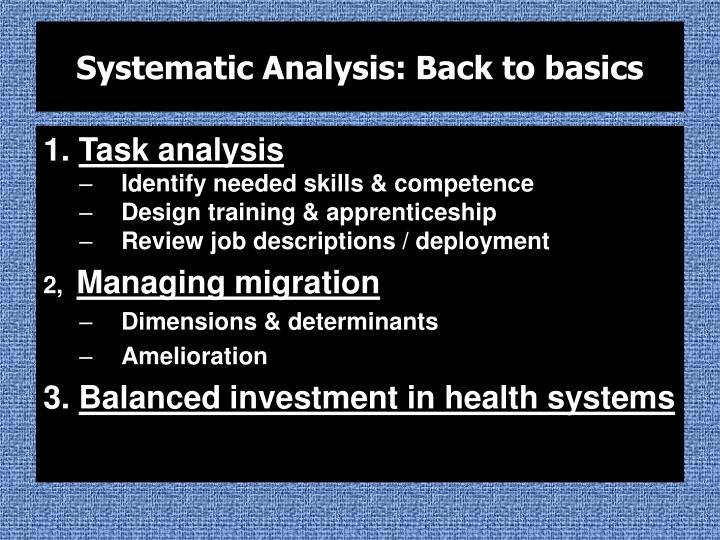 Systematic Analysis: Back to basics