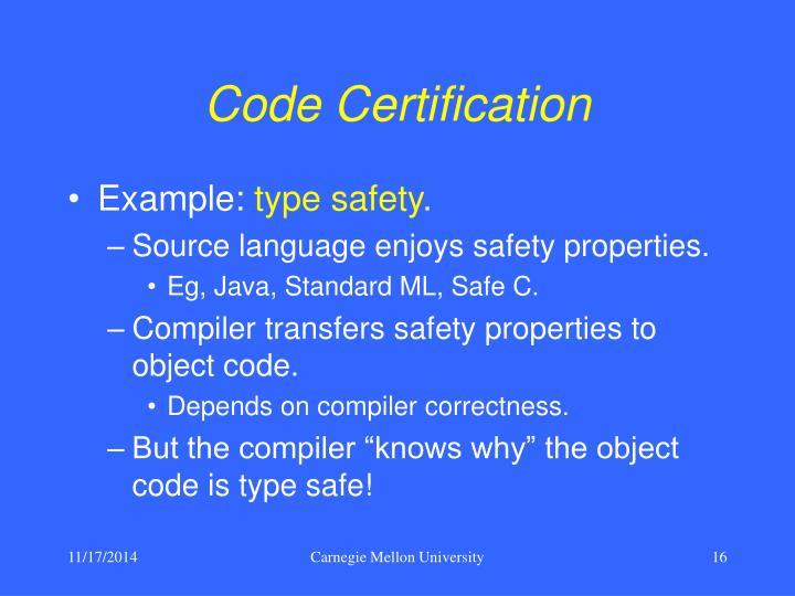 Code Certification