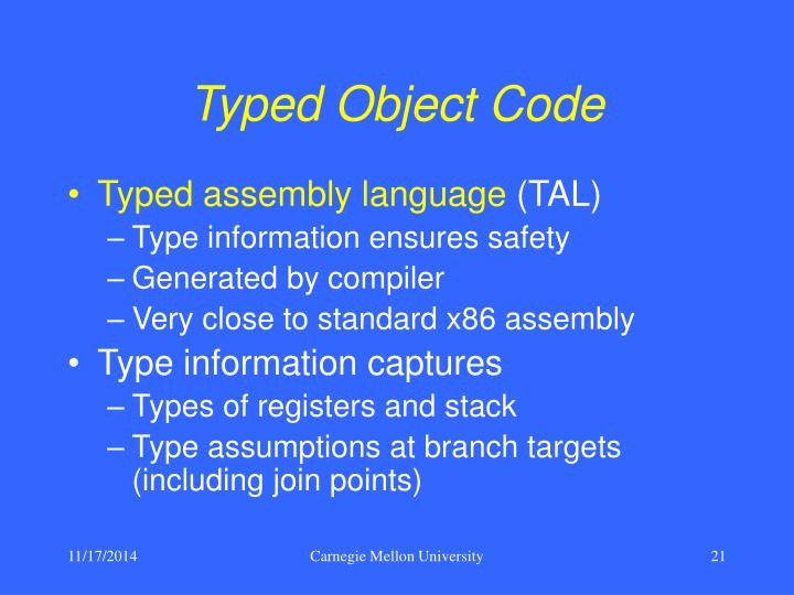 Typed Object Code