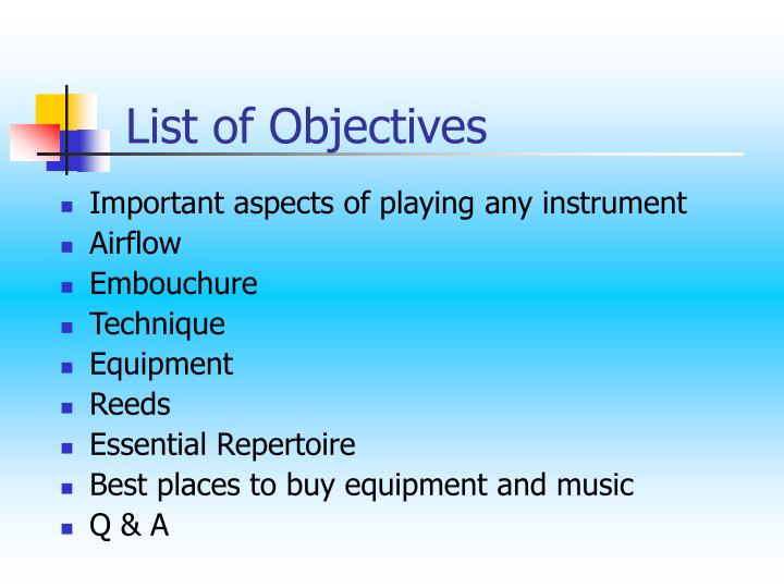 List of Objectives