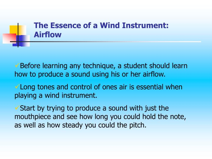 The Essence of a Wind Instrument: Airflow