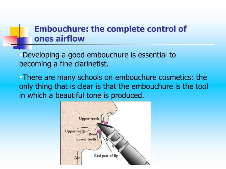 Embouchure: the complete control of ones airflow