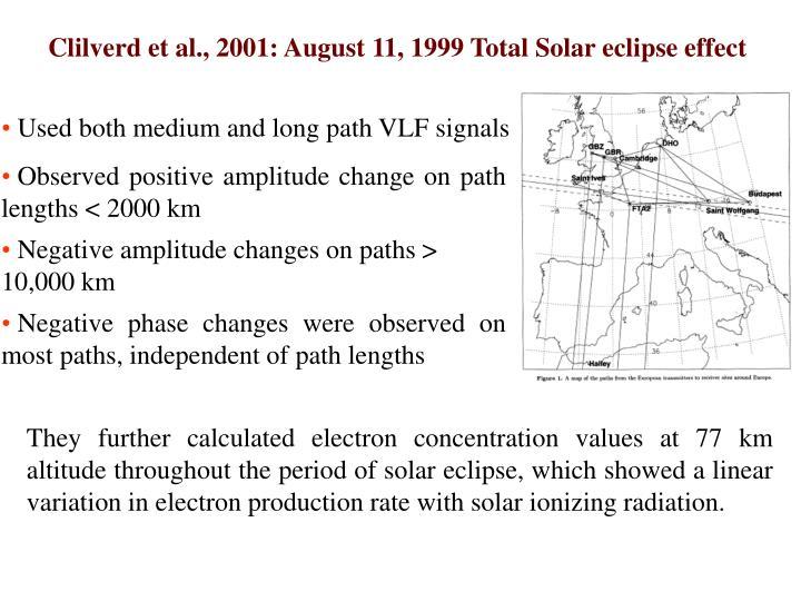 Clilverd et al., 2001: August 11, 1999 Total Solar eclipse effect