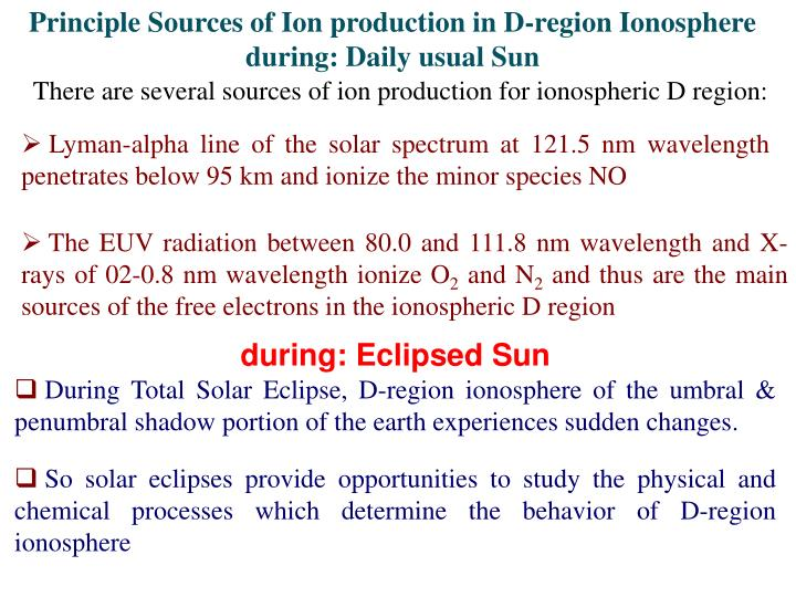 Principle Sources of Ion production in D-region Ionosphere