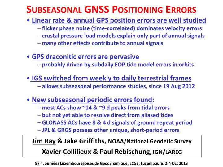 Subseasonal gnss positioning errors