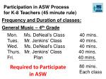 participation in asw process for k 8 teachers 45 minute rule1