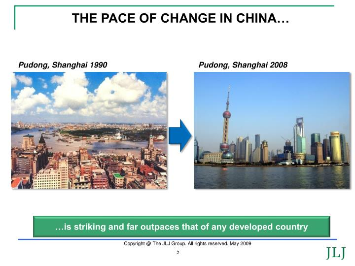 THE PACE OF CHANGE IN CHINA…