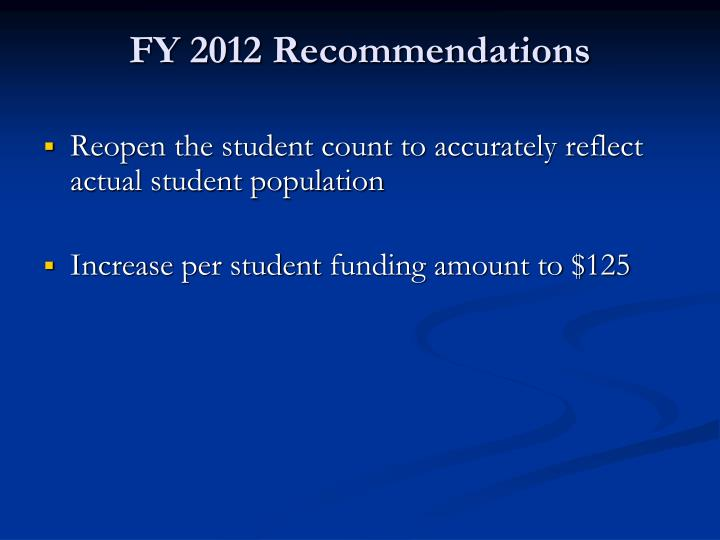 FY 2012 Recommendations