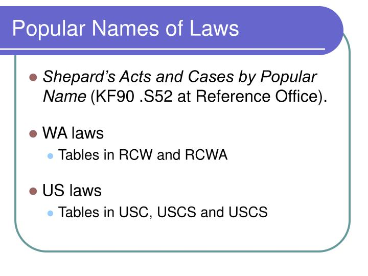 Popular Names of Laws