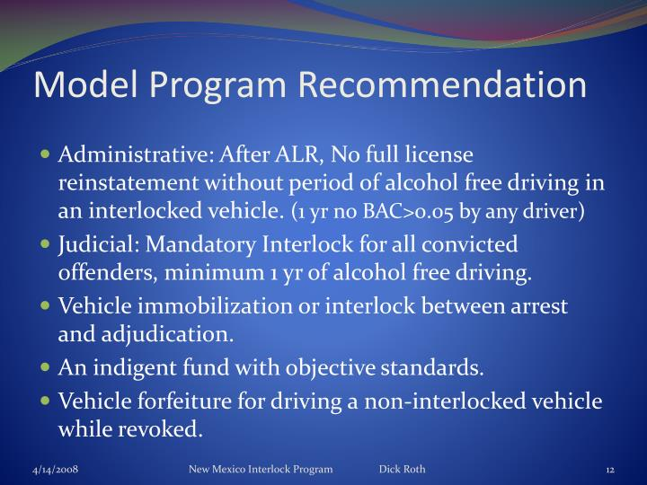 Model Program Recommendation