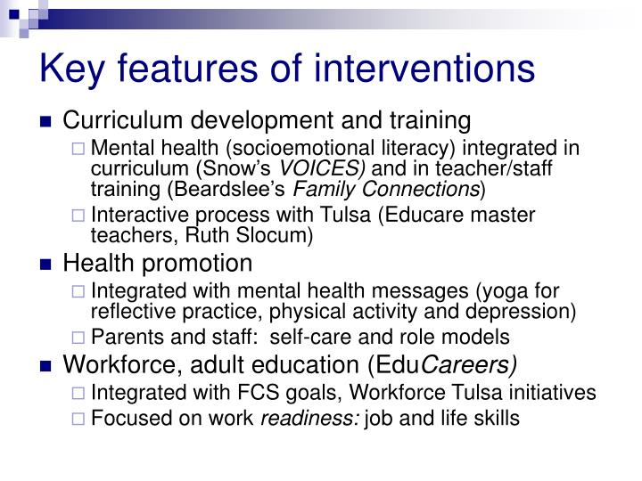Key features of interventions