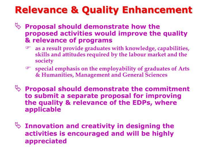 Relevance & Quality Enhancement