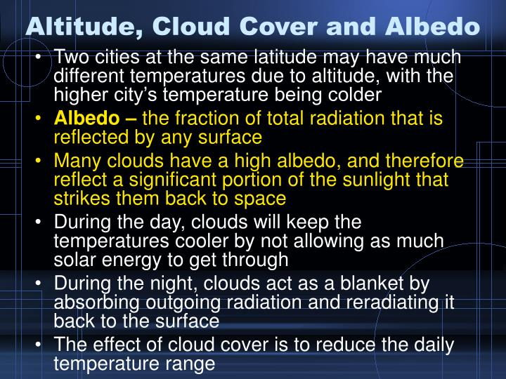 Altitude, Cloud Cover and Albedo