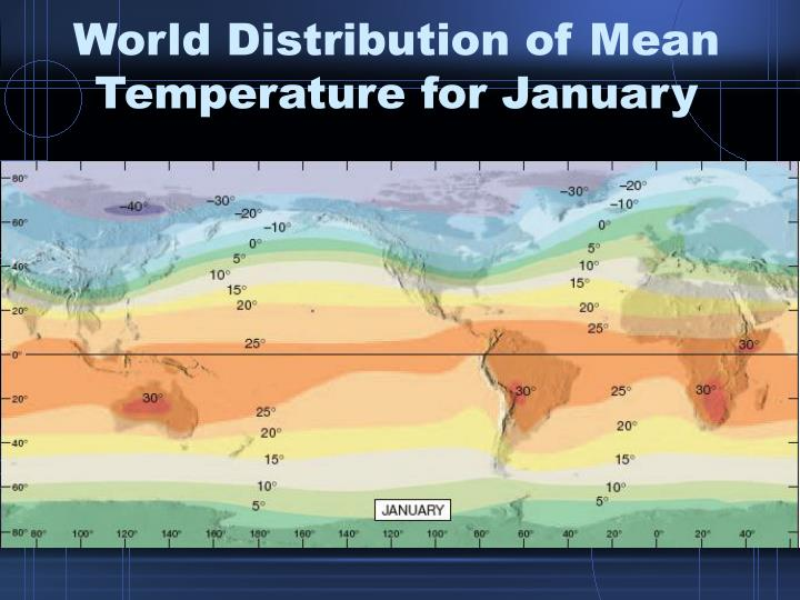 World Distribution of Mean Temperature for January