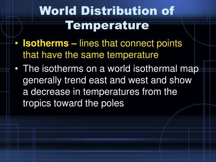 World Distribution of Temperature