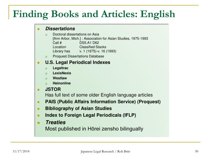 Finding Books and Articles: English