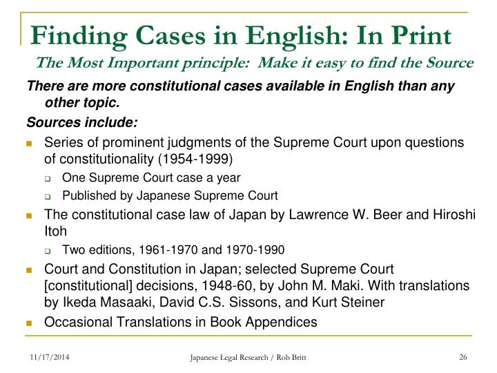 Finding Cases in English: In Print