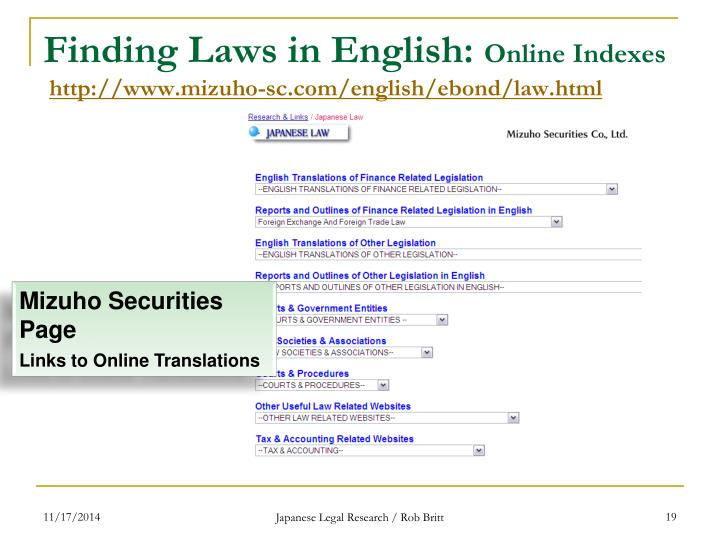Finding Laws in English: