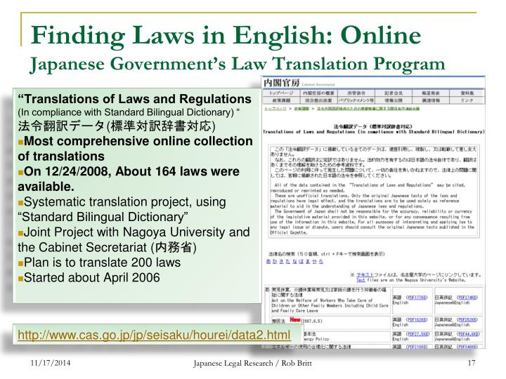 Finding Laws in English: Online