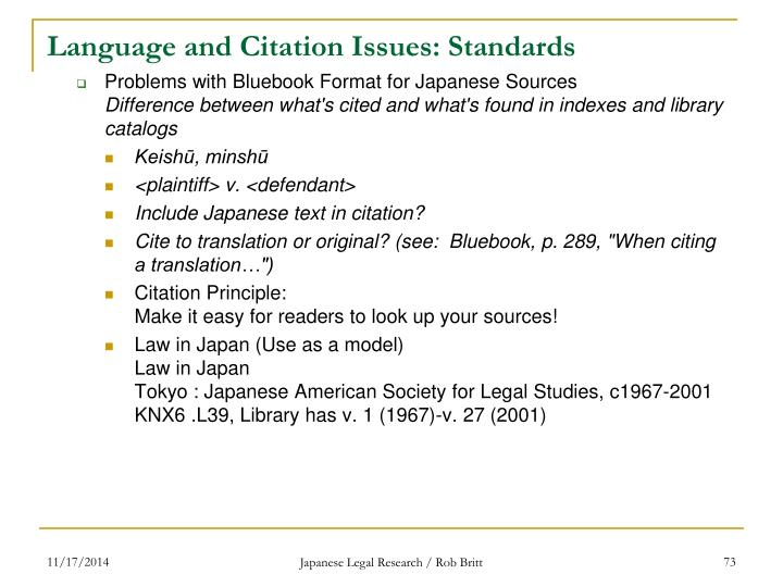 Language and Citation Issues: Standards