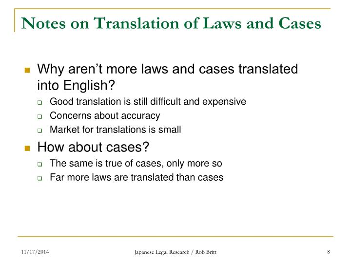Notes on Translation of Laws and Cases