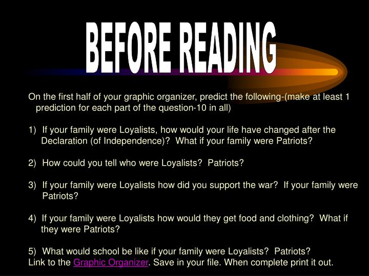 BEFORE READING