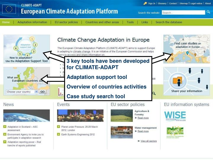 3 key tools have been developed for CLIMATE-ADAPT