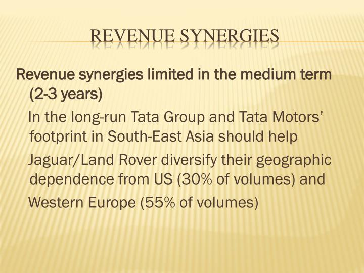 Revenue synergies limited in the medium term (2-3 years)