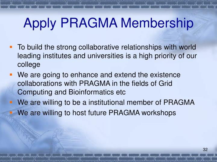 Apply PRAGMA Membership